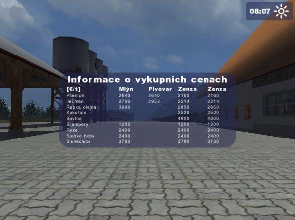 Screenshoty módu na zobrazení výkupních cen